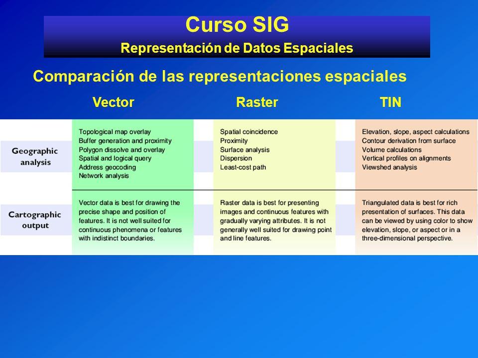 Curso SIG Representación de Datos Espaciales Comparación de las representaciones espaciales VectorRasterTIN