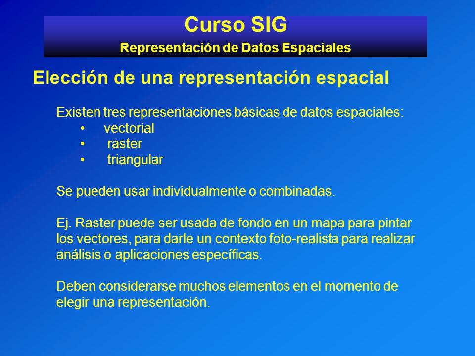 Curso SIG Representación de Datos Espaciales Elección de una representación espacial Existen tres representaciones básicas de datos espaciales: vector