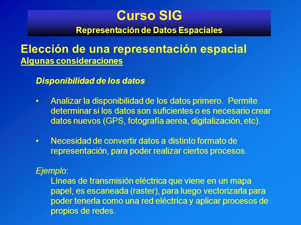 Curso SIG Representación de Datos Espaciales Elección de una representación espacial Algunas consideraciones Disponibilidad de los datos Analizar la d