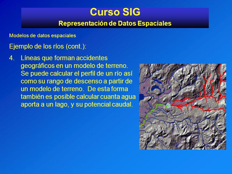 Modelos de datos espaciales Ejemplo de los ríos (cont.): 4.Líneas que forman accidentes geográficos en un modelo de terreno. Se puede calcular el perf