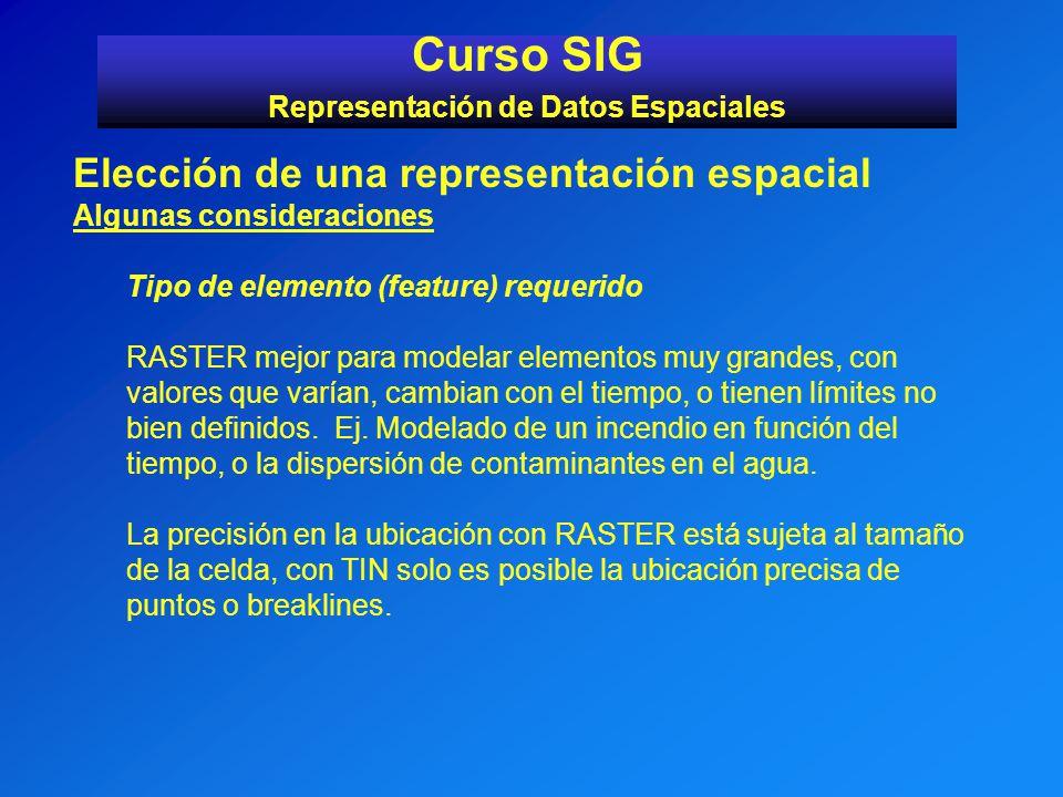 Curso SIG Representación de Datos Espaciales Elección de una representación espacial Algunas consideraciones Tipo de elemento (feature) requerido RAST