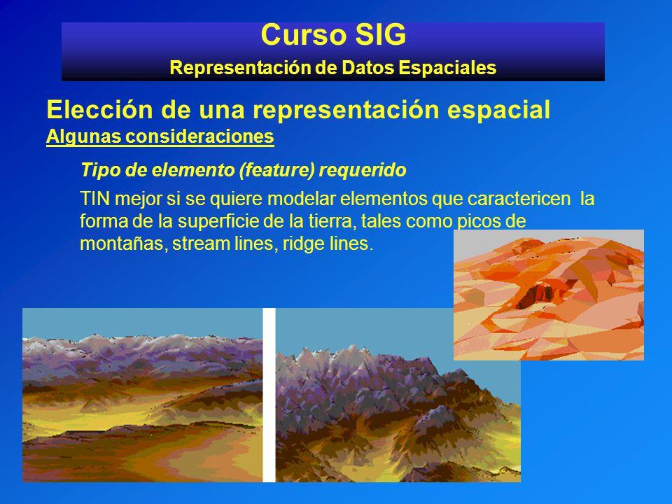 Curso SIG Representación de Datos Espaciales Elección de una representación espacial Algunas consideraciones Tipo de elemento (feature) requerido TIN