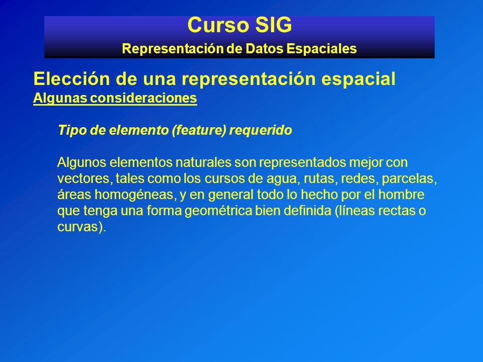 Curso SIG Representación de Datos Espaciales Elección de una representación espacial Algunas consideraciones Tipo de elemento (feature) requerido Algu