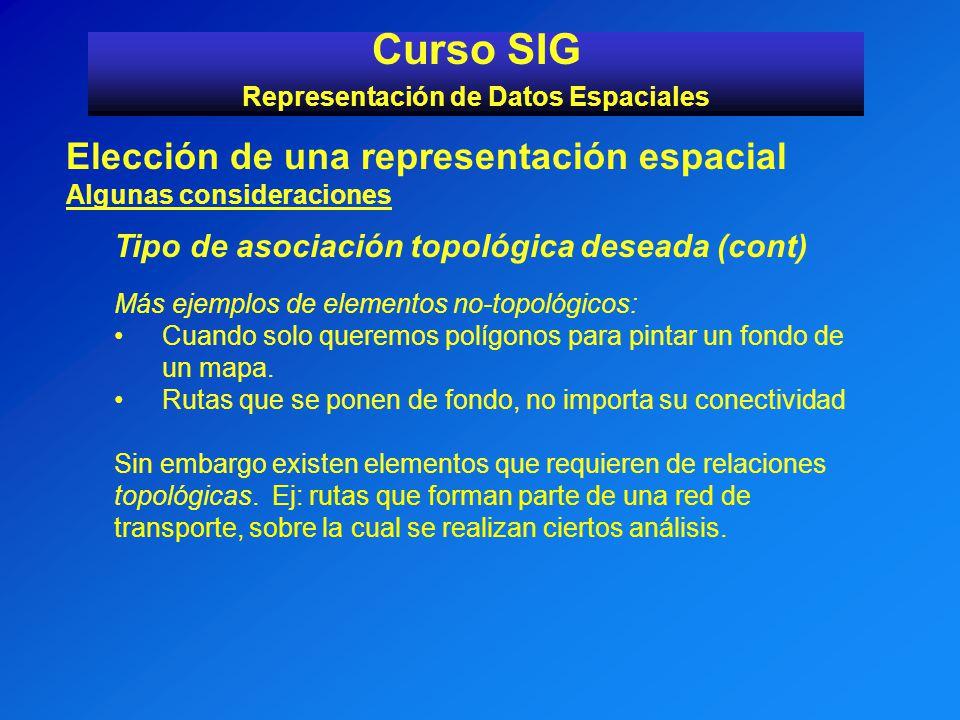 Curso SIG Representación de Datos Espaciales Elección de una representación espacial Algunas consideraciones Tipo de asociación topológica deseada (co