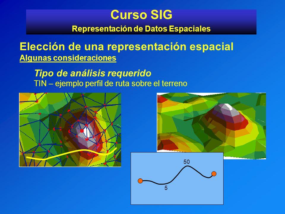 Curso SIG Representación de Datos Espaciales Elección de una representación espacial Algunas consideraciones Tipo de análisis requerido TIN – ejemplo