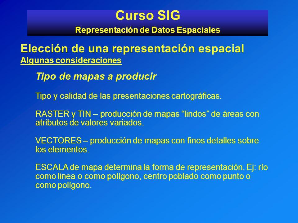 Curso SIG Representación de Datos Espaciales Elección de una representación espacial Algunas consideraciones Tipo de mapas a producir Tipo y calidad d