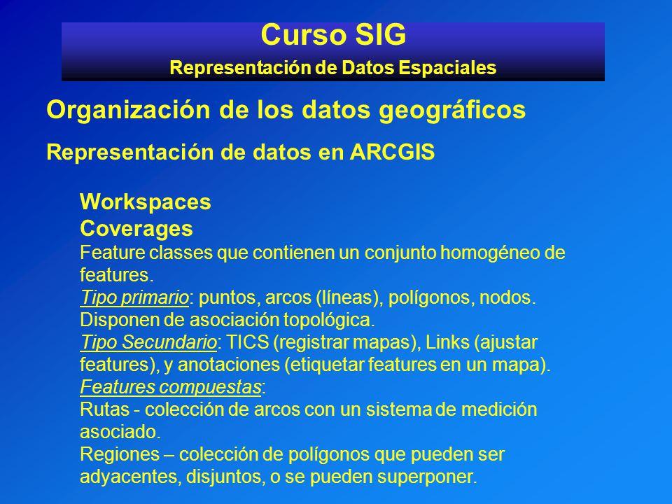 Curso SIG Representación de Datos Espaciales Organización de los datos geográficos Representación de datos en ARCGIS Workspaces Coverages Feature clas