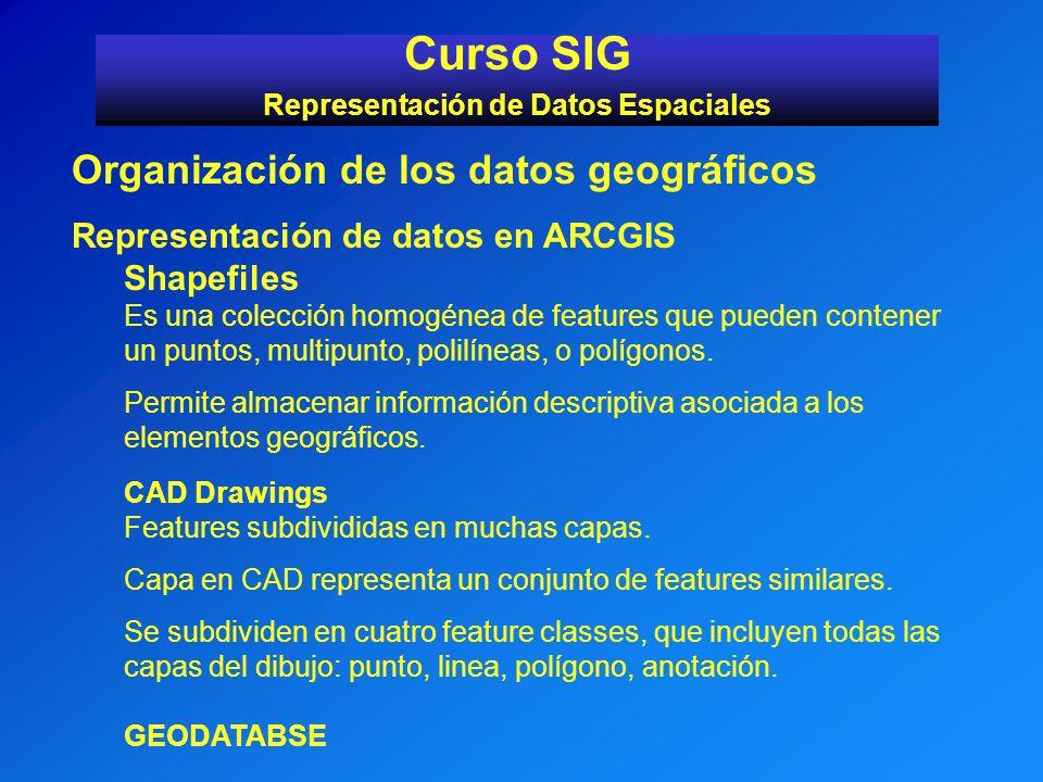 Curso SIG Representación de Datos Espaciales Organización de los datos geográficos Representación de datos en ARCGIS Shapefiles Es una colección homog