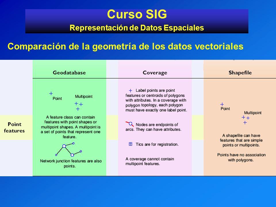 Curso SIG Representación de Datos Espaciales Comparación de la geometría de los datos vectoriales