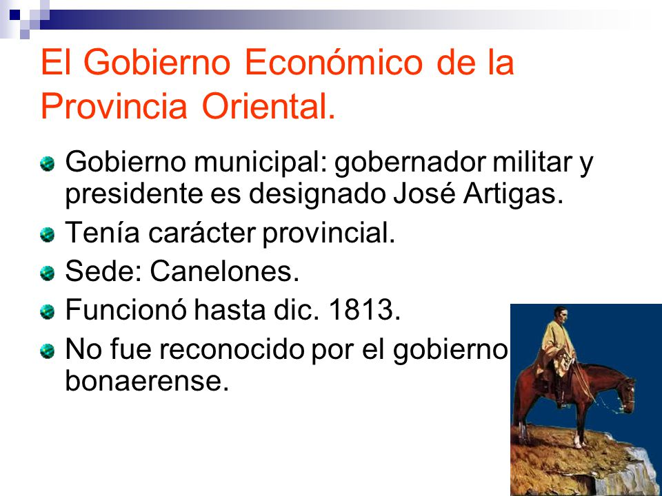 El Gobierno Económico de la Provincia Oriental.