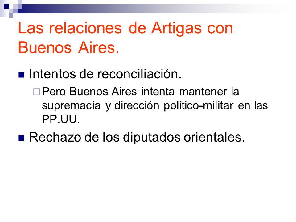 Las relaciones de Artigas con Buenos Aires.Intentos de reconciliación.