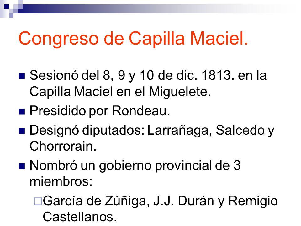 Congreso de Capilla Maciel.Sesionó del 8, 9 y 10 de dic.