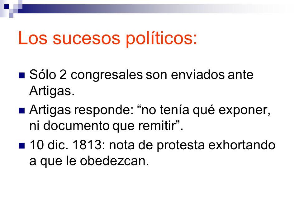 Los sucesos políticos: Sólo 2 congresales son enviados ante Artigas.