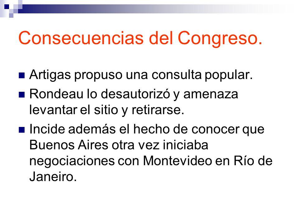 Consecuencias del Congreso.Artigas propuso una consulta popular.