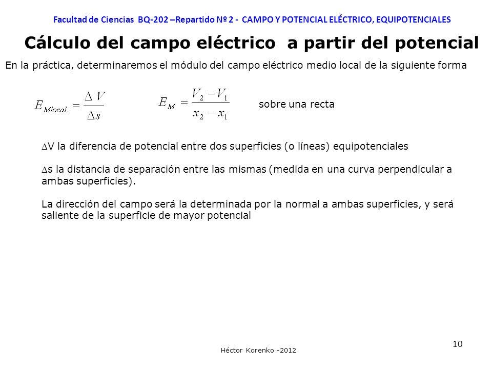10 Facultad de Ciencias BQ-202 –Repartido Nº 2 - CAMPO Y POTENCIAL ELÉCTRICO, EQUIPOTENCIALES Héctor Korenko -2012 Cálculo del campo eléctrico a parti