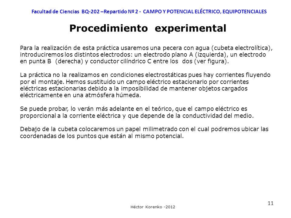 11 Facultad de Ciencias BQ-202 –Repartido Nº 2 - CAMPO Y POTENCIAL ELÉCTRICO, EQUIPOTENCIALES Héctor Korenko -2012 Procedimiento experimental Para la