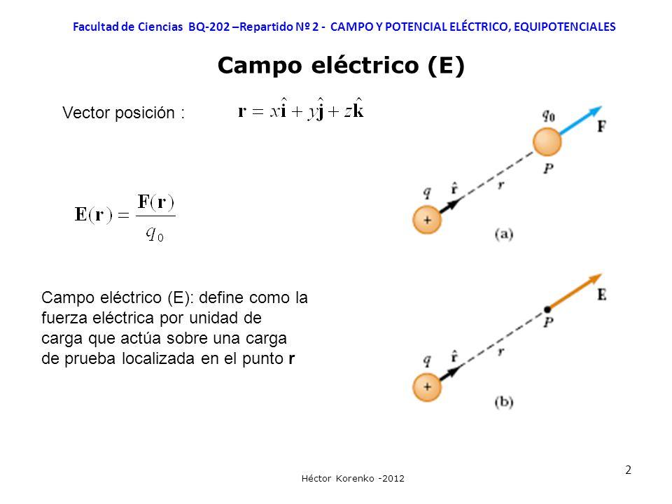 2 Facultad de Ciencias BQ-202 –Repartido Nº 2 - CAMPO Y POTENCIAL ELÉCTRICO, EQUIPOTENCIALES Héctor Korenko -2012 Campo eléctrico (E) Vector posición