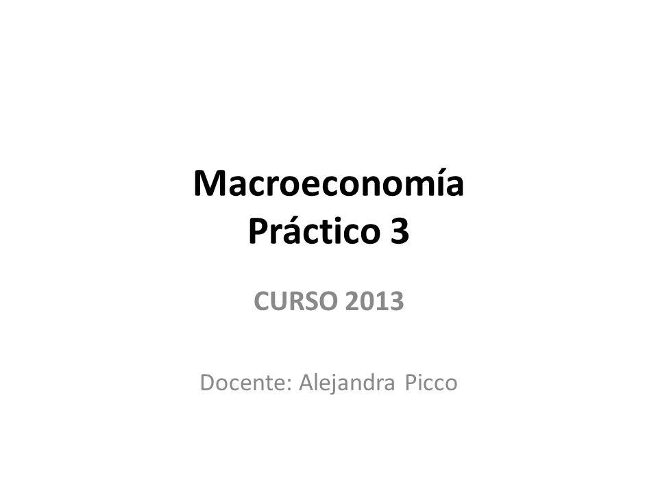 Macroeconomía Práctico 3 CURSO 2013 Docente: Alejandra Picco