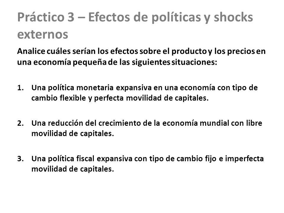 Práctico 3 – Efectos de políticas y shocks externos Analice cuáles serían los efectos sobre el producto y los precios en una economía pequeña de las s