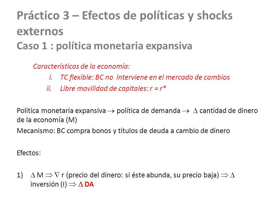 Práctico 3 – Efectos de políticas y shocks externos Caso 1 : política monetaria expansiva Características de la economía: i.TC flexible: BC no intervi