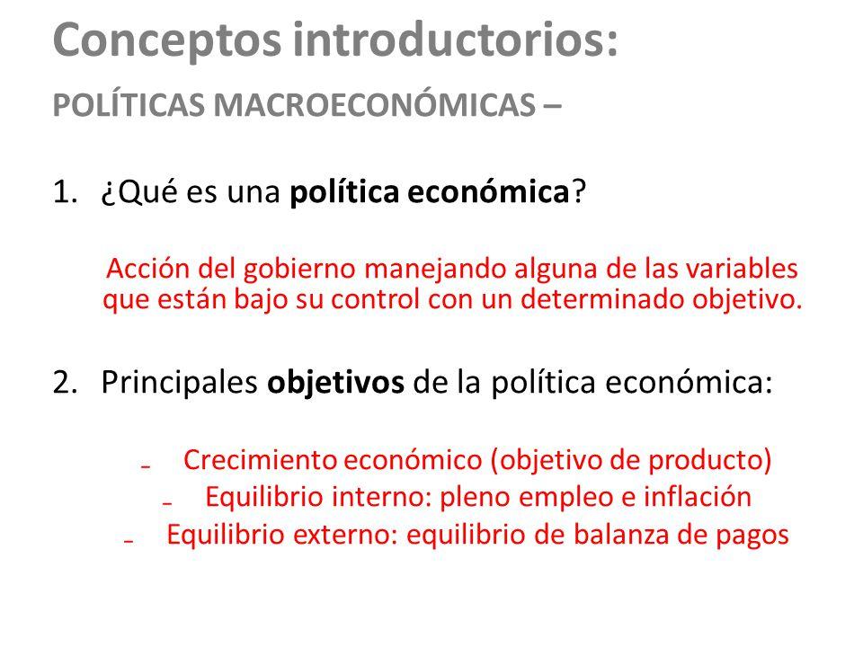 Conceptos introductorios: POLÍTICAS MACROECONÓMICAS – 1.¿Qué es una política económica? Acción del gobierno manejando alguna de las variables que está