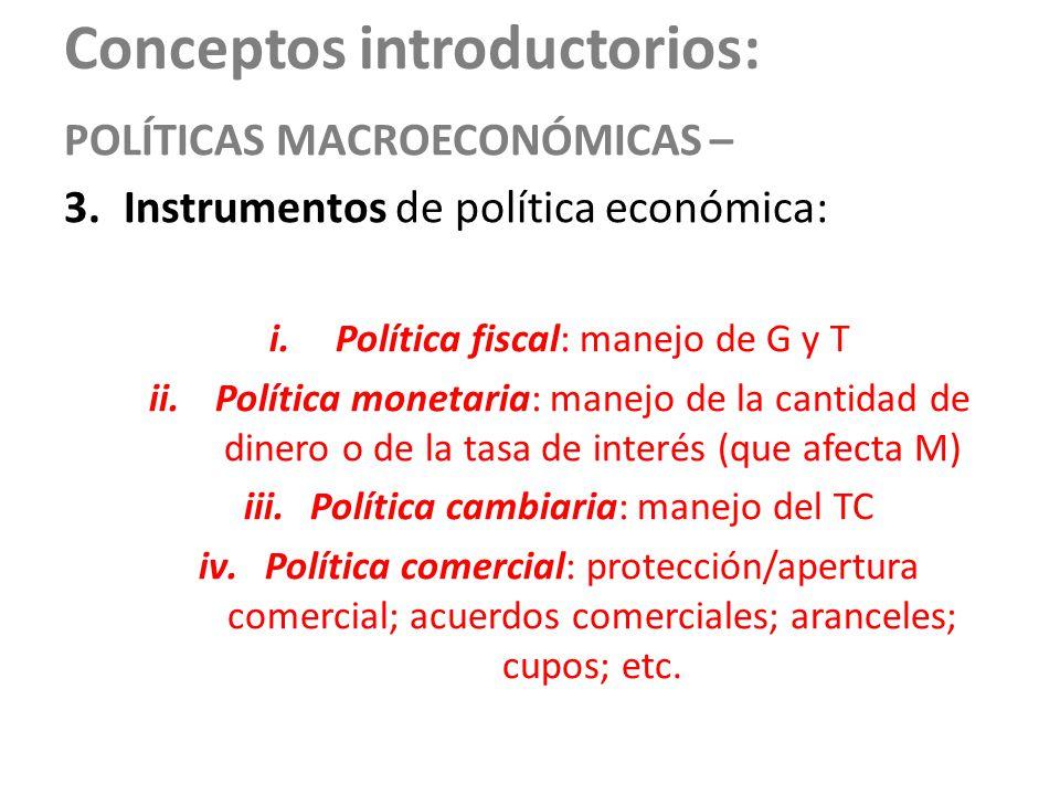 Conceptos introductorios: POLÍTICAS MACROECONÓMICAS – 3.Instrumentos de política económica: i.Política fiscal: manejo de G y T ii.Política monetaria: