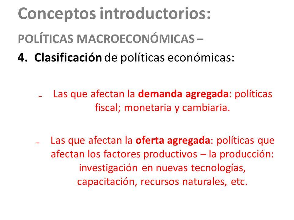 Conceptos introductorios: POLÍTICAS MACROECONÓMICAS – 4.Clasificación de políticas económicas: Las que afectan la demanda agregada: políticas fiscal;