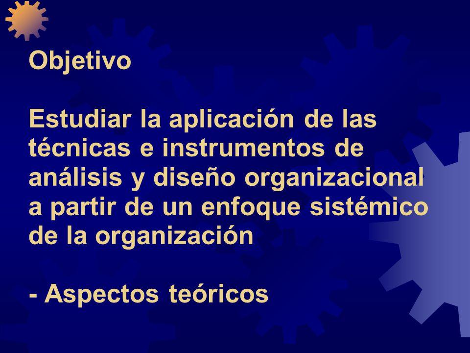 Objetivo Estudiar la aplicación de las técnicas e instrumentos de análisis y diseño organizacional a partir de un enfoque sistémico de la organización