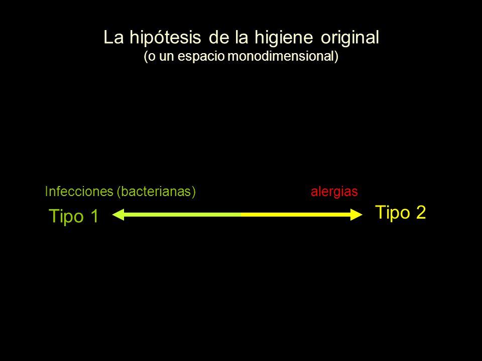 La hipótesis de la higiene original (o un espacio monodimensional) Tipo 1 Tipo 2 alergiasInfecciones (bacterianas)