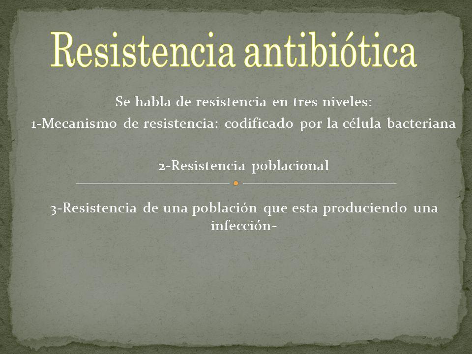 Se habla de resistencia en tres niveles: 1-Mecanismo de resistencia: codificado por la célula bacteriana 2-Resistencia poblacional 3-Resistencia de un