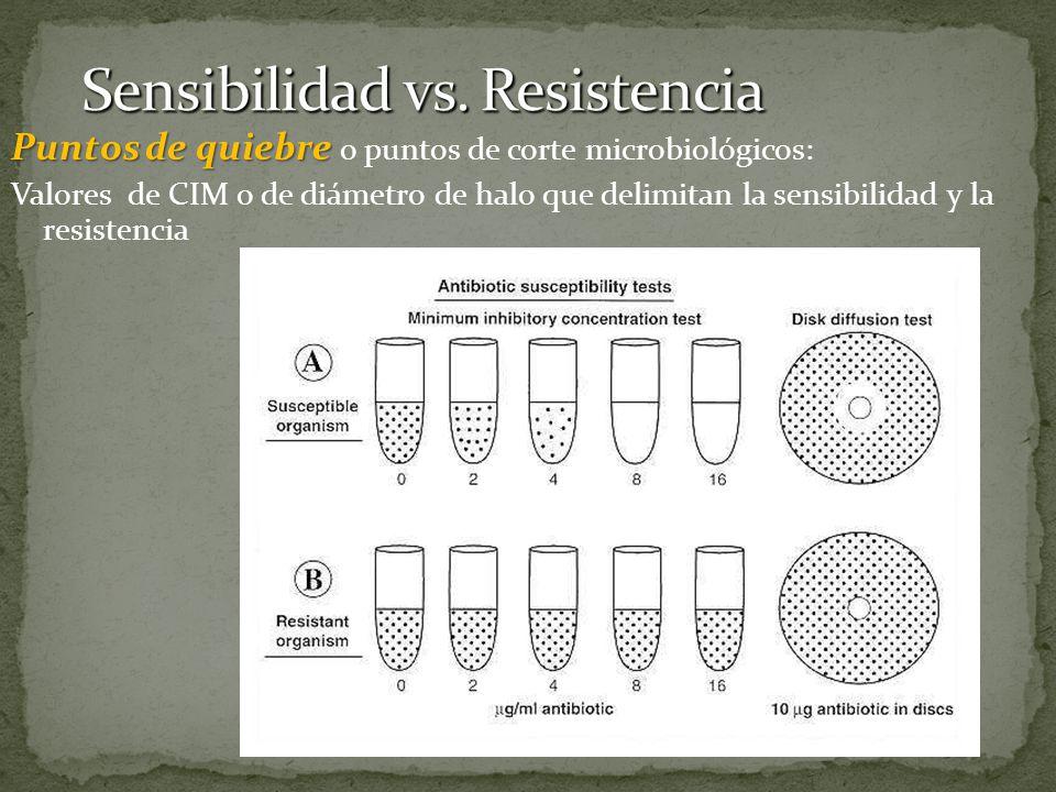 Puntos de quiebre Puntos de quiebre o puntos de corte microbiológicos: Valores de CIM o de diámetro de halo que delimitan la sensibilidad y la resiste