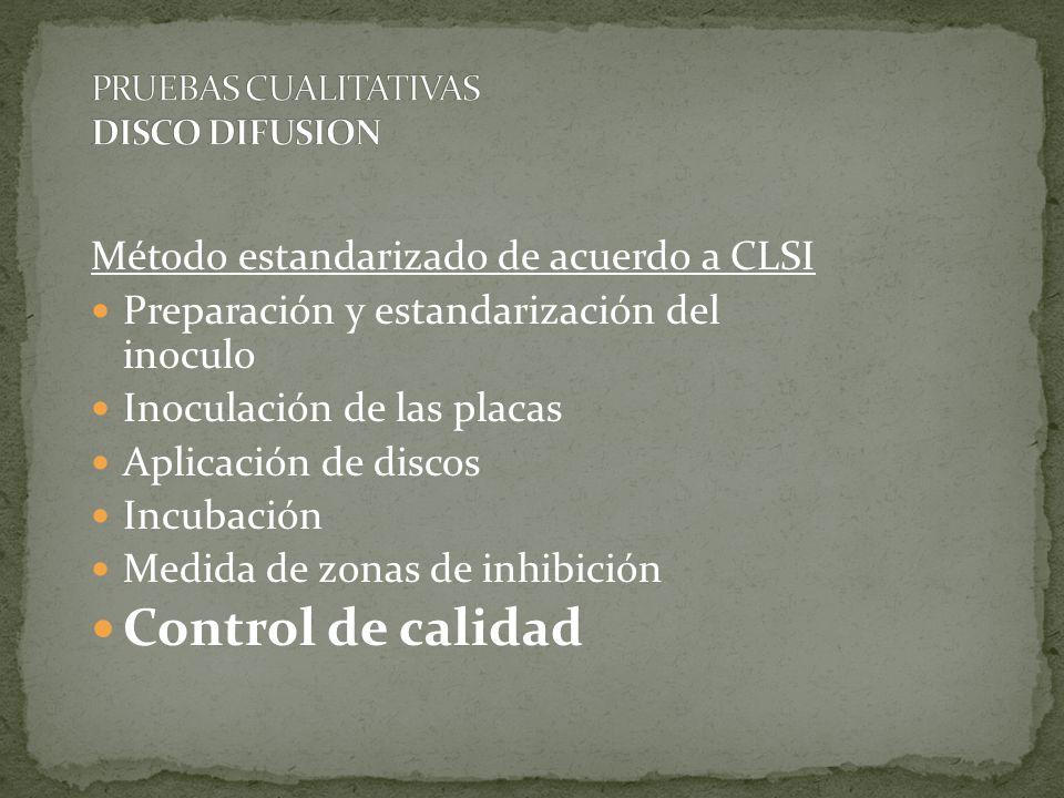 Método estandarizado de acuerdo a CLSI Preparación y estandarización del inoculo Inoculación de las placas Aplicación de discos Incubación Medida de z