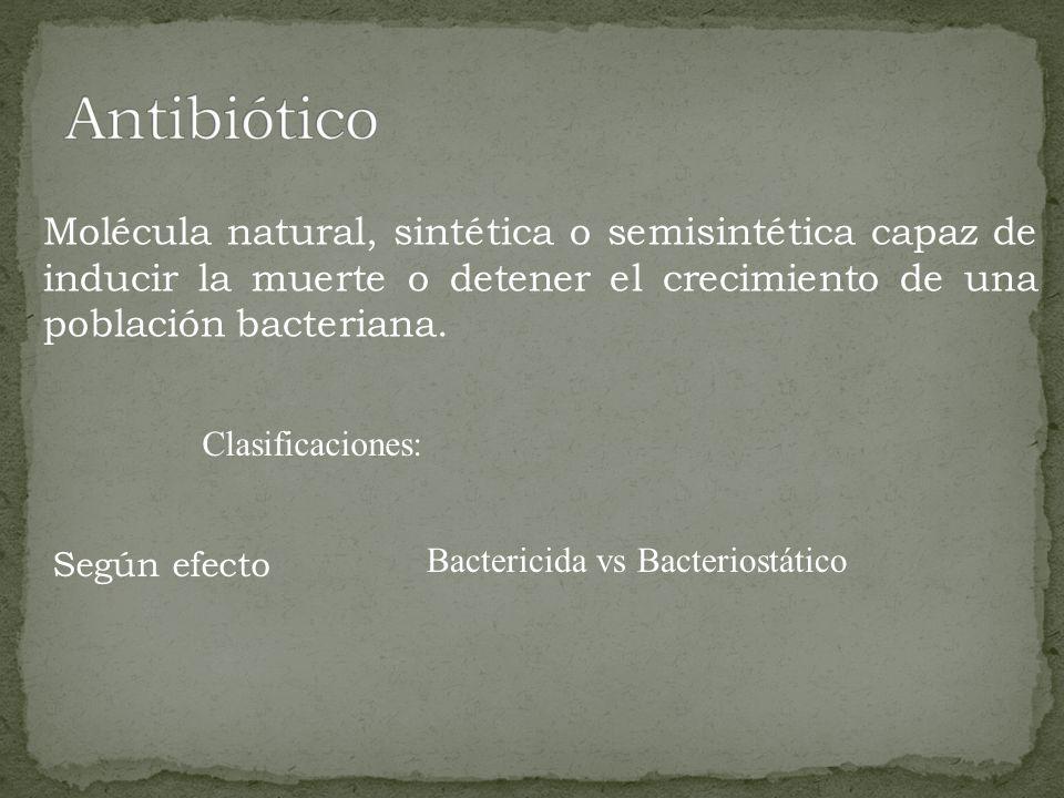 Molécula natural, sintética o semisintética capaz de inducir la muerte o detener el crecimiento de una población bacteriana. Clasificaciones: Según ef
