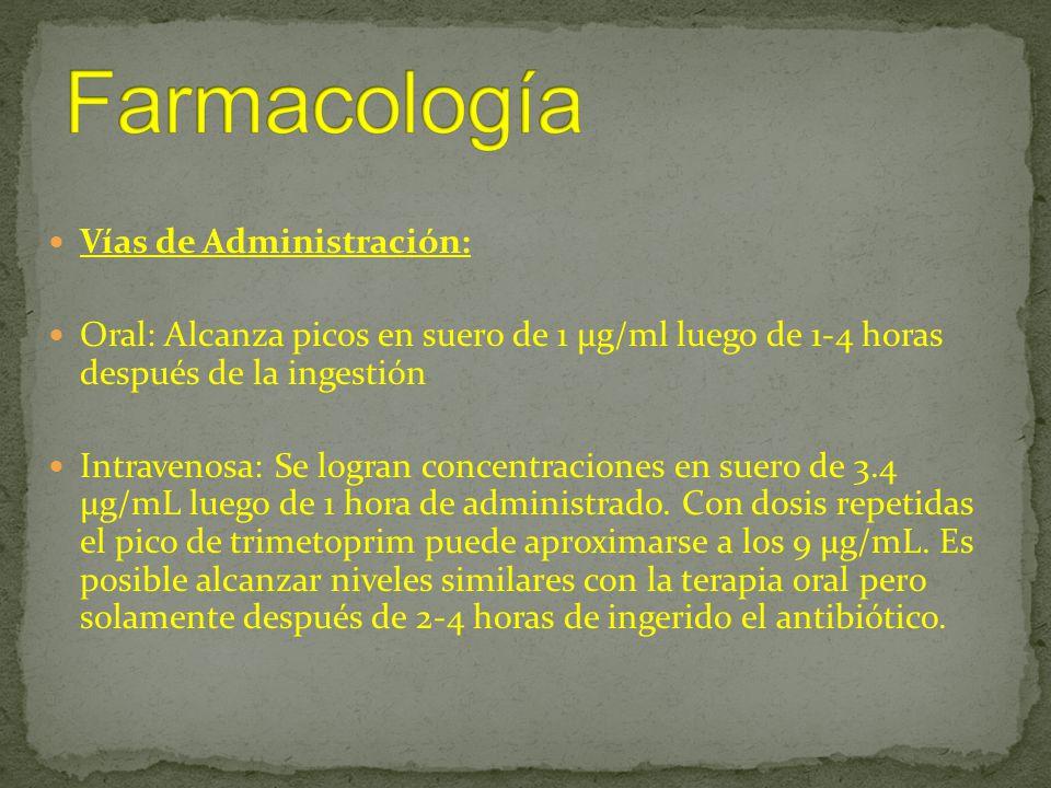 Vías de Administración: Oral: Alcanza picos en suero de 1 μg/ml luego de 1-4 horas después de la ingestión Intravenosa: Se logran concentraciones en s