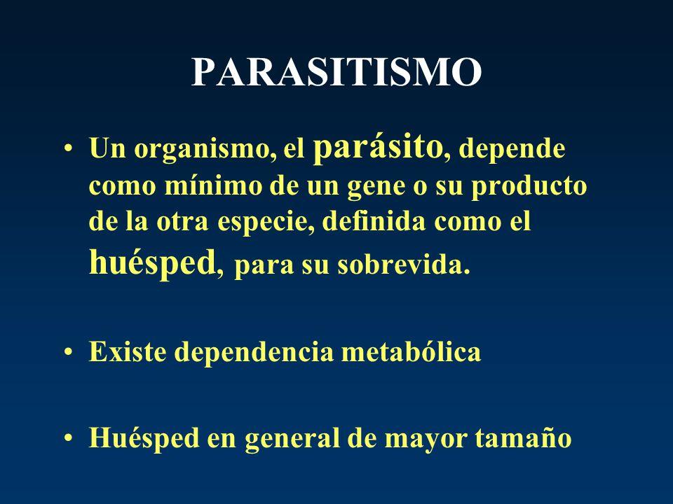 PARASITISMO Un organismo, el parásito, depende como mínimo de un gene o su producto de la otra especie, definida como el huésped, para su sobrevida. E