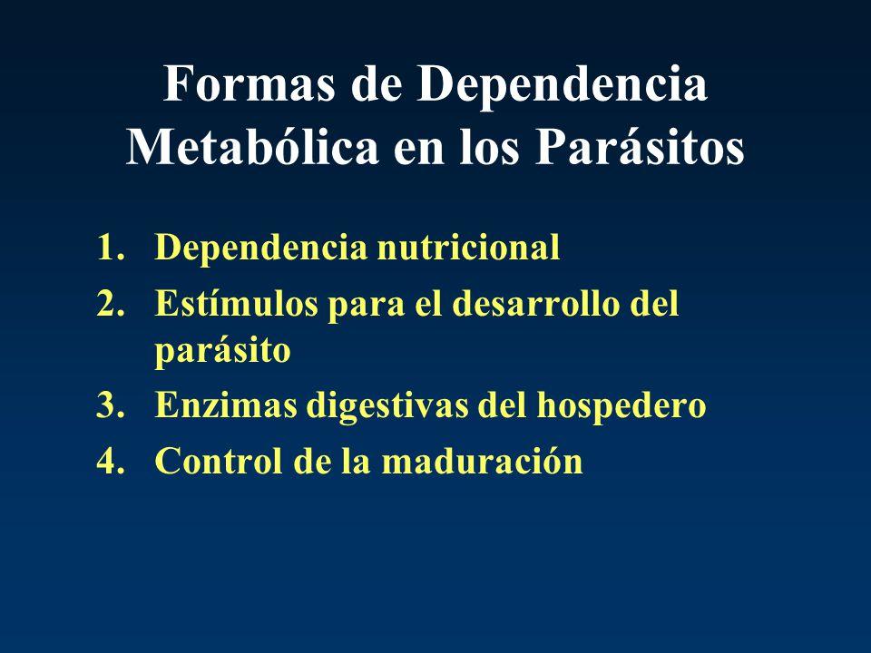 Formas de Dependencia Metabólica en los Parásitos 1.Dependencia nutricional 2.Estímulos para el desarrollo del parásito 3.Enzimas digestivas del hospe
