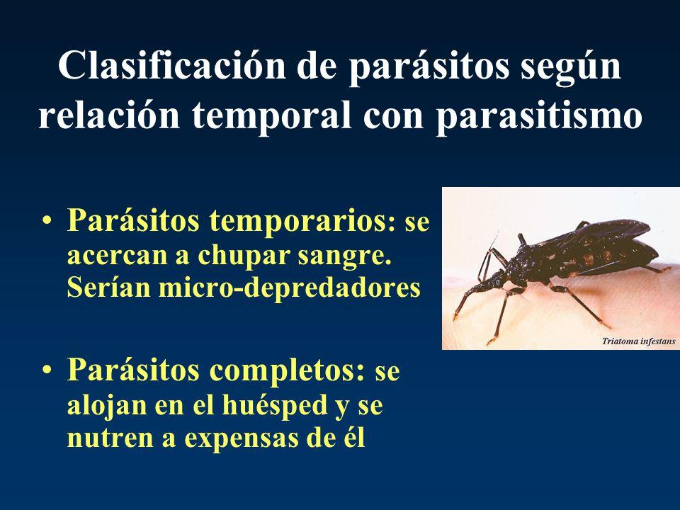 Clasificación de parásitos según relación temporal con parasitismo Parásitos temporarios : se acercan a chupar sangre. Serían micro-depredadores Parás