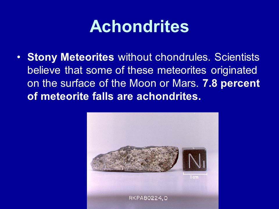 Achondrites Stony Meteorites without chondrules. Scientists believe that some of these meteorites originated on the surface of the Moon or Mars. 7.8 p