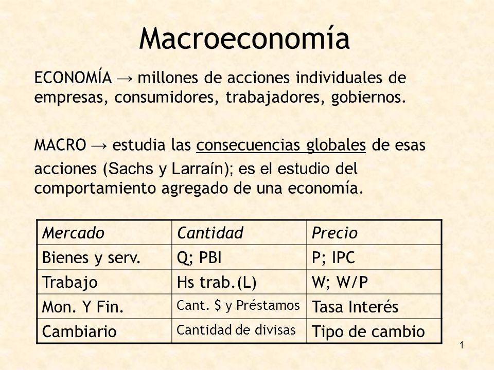 1 Macroeconomía ECONOMÍA ECONOMÍA millones de acciones individuales de empresas, consumidores, trabajadores, gobiernos. MACRO MACRO estudia las consec