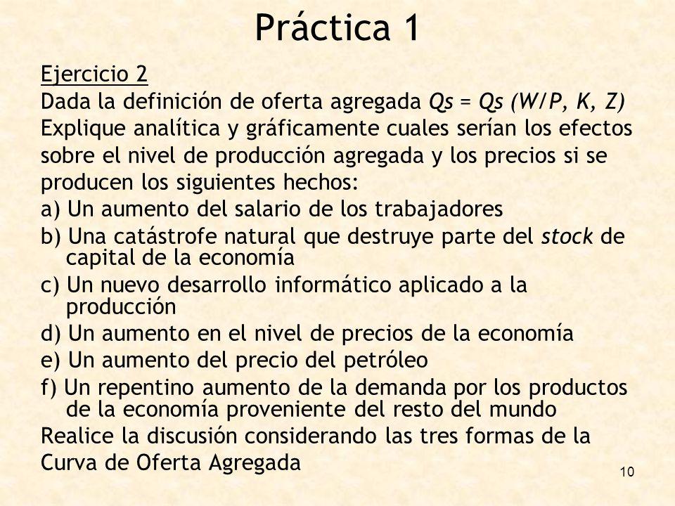 10 Ejercicio 2 Dada la definición de oferta agregada Qs = Qs (W/P, K, Z) Explique analítica y gráficamente cuales serían los efectos sobre el nivel de producción agregada y los precios si se producen los siguientes hechos: a) Un aumento del salario de los trabajadores b) Una catástrofe natural que destruye parte del stock de capital de la economía c) Un nuevo desarrollo informático aplicado a la producción d) Un aumento en el nivel de precios de la economía e) Un aumento del precio del petróleo f) Un repentino aumento de la demanda por los productos de la economía proveniente del resto del mundo Realice la discusión considerando las tres formas de la Curva de Oferta Agregada Práctica 1