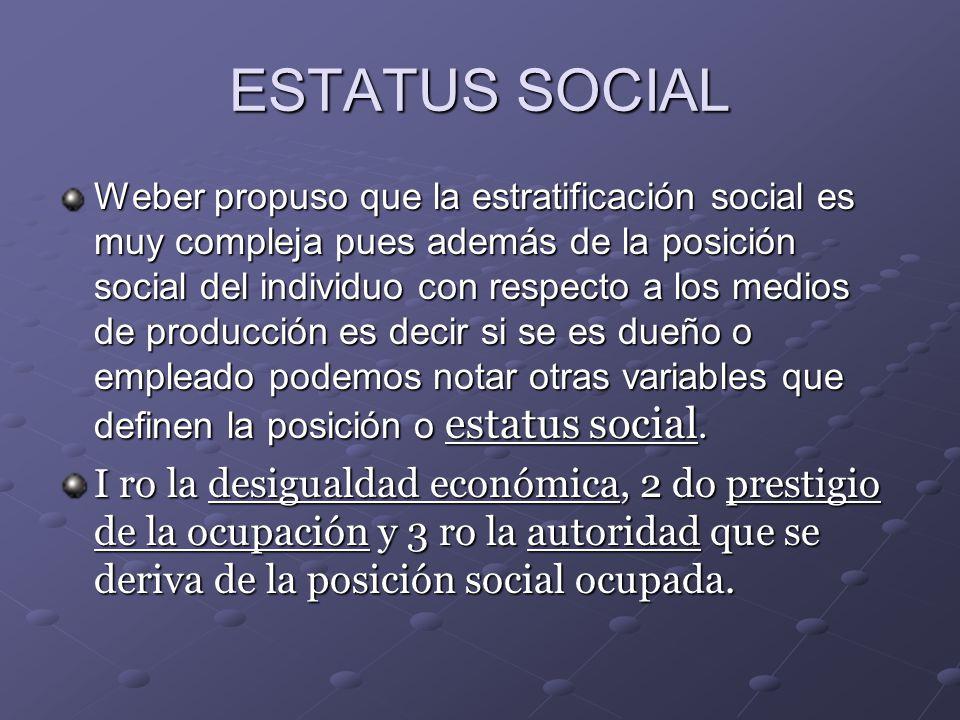 ESTATUS SOCIAL Weber propuso que la estratificación social es muy compleja pues además de la posición social del individuo con respecto a los medios d