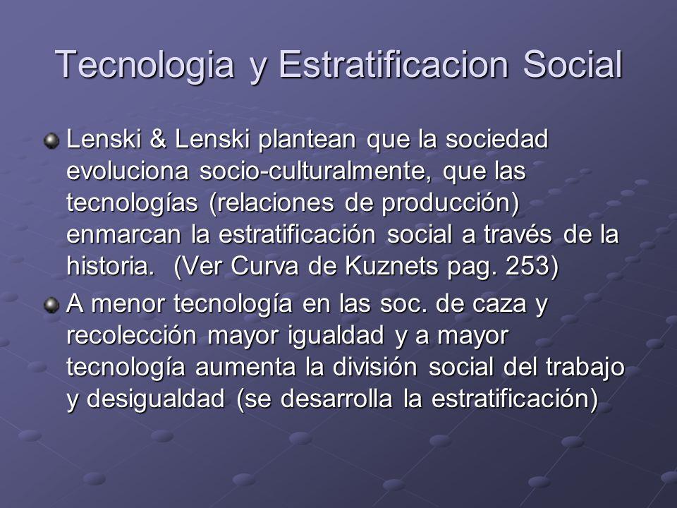 Tecnologia y Estratificacion Social Lenski & Lenski plantean que la sociedad evoluciona socio-culturalmente, que las tecnologías (relaciones de produc