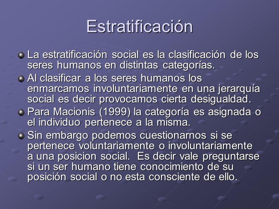 Estratificación La estratificación social es la clasificación de los seres humanos en distintas categorías. Al clasificar a los seres humanos los enma