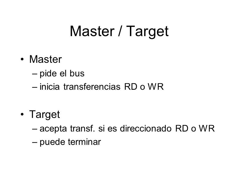 Master / Target Master –pide el bus –inicia transferencias RD o WR Target –acepta transf.