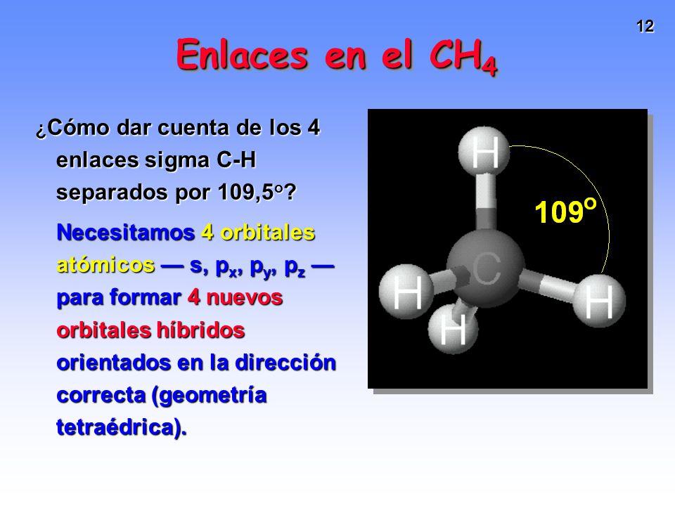 12 ¿ Cómo dar cuenta de los 4 enlaces sigma C-H separados por 109,5 o ? Necesitamos 4 orbitales atómicos s, p x, p y, p z para formar 4 nuevos orbital