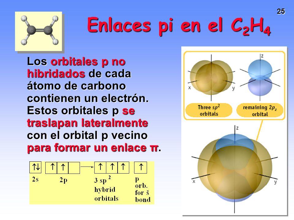 25 Los orbitales p no hibridados de cada átomo de carbono contienen un electrón. Estos orbitales p se traslapan lateralmente con el orbital p vecino p