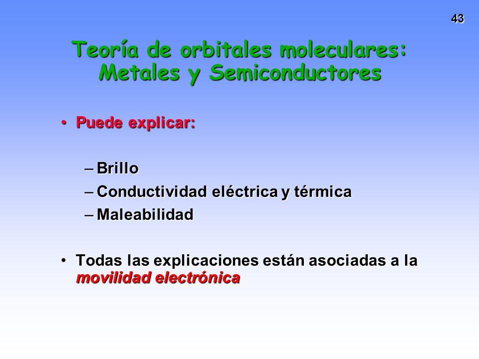 43 Teoría de orbitales moleculares: Metales y Semiconductores Puede explicar:Puede explicar: –Brillo –Conductividad eléctrica y térmica –Maleabilidad