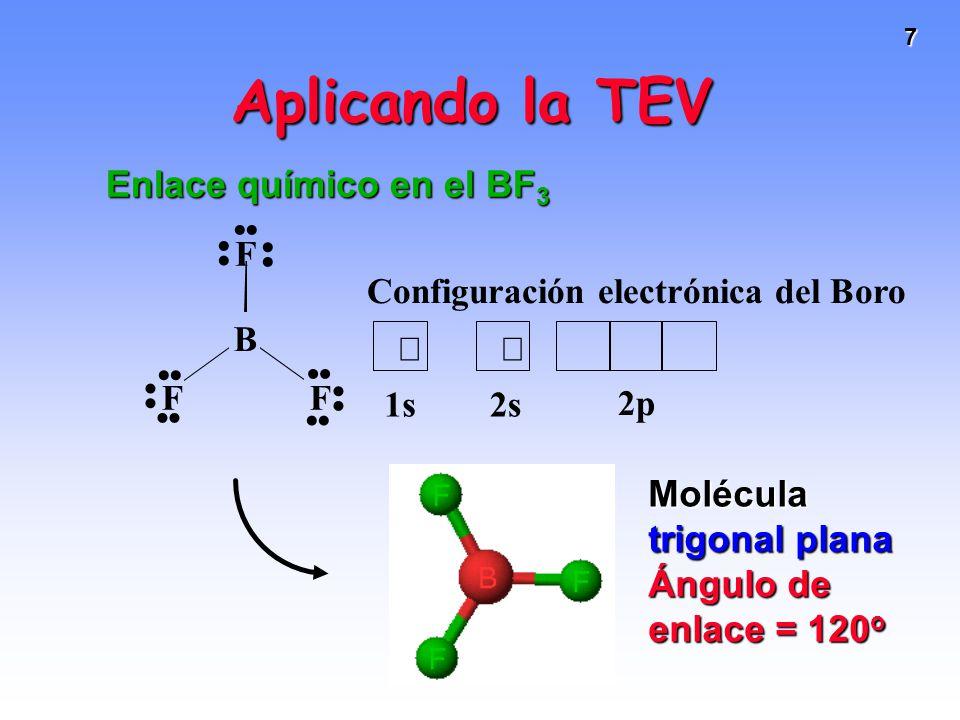 7 Aplicando la TEV Enlace químico en el BF 3 Molécula trigonal plana Ángulo de enlace = 120 o F FF Configuración electrónica del Boro 2p 2s1s B