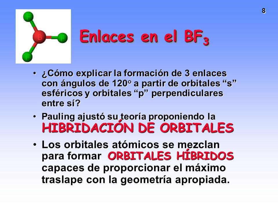 8 Enlaces en el BF 3 ¿Cómo explicar la formación de 3 enlaces con ángulos de 120 o a partir de orbitales s esféricos y orbitales p perpendiculares ent