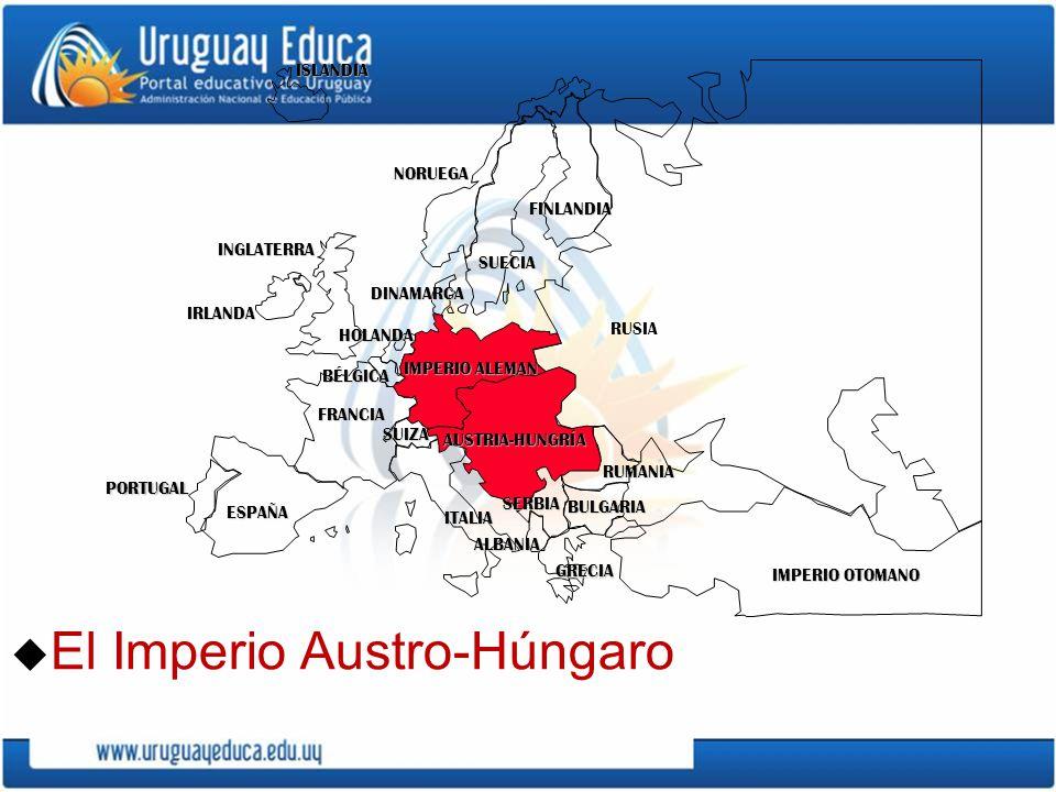 u El Imperio Austro-Húngaro PORTUGAL IMPERIO ALEMAN AUSTRIA-HUNGRÍA RUSIA INGLATERRA FRANCIA ESPAÑA ITALIAISLANDIANORUEGA FINLANDIA DINAMARCA HOLANDA